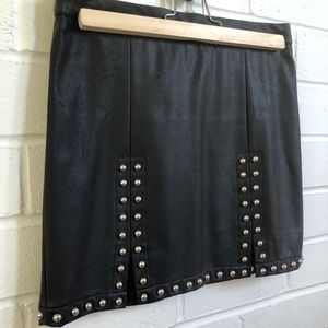 XXI Studded Black Faux Leather Mini Skirt S